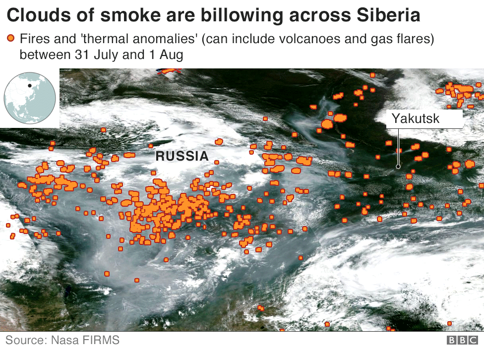 Satellite image showing wildfires in Siberia