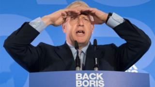 Boris Johnson making a speech at his leadership launch