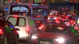 City centre traffic on Tuesday night