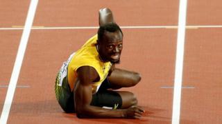 Usain Bolt en el piso