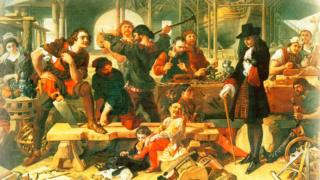 Царь Петр в Дептфорде (Дэниел Маклиз, британский художник XVIII века)