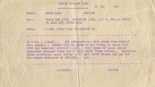 Field Marshall Bernard Montgomery's order to cease fire at the end of World War Two in Europe