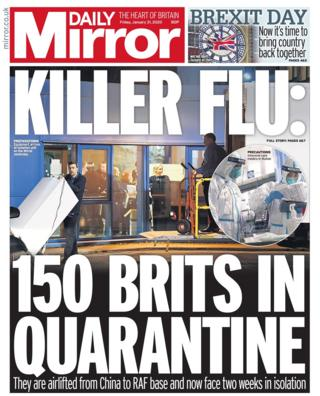Friday's Daily Mirror front page