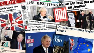 Collage of newspaper front pages