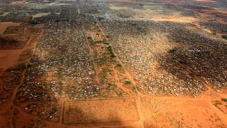 aerial photo of the sprawling Dadaab camp