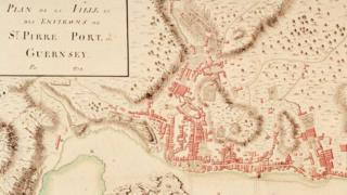 Part of St Peter Port map from 1759.