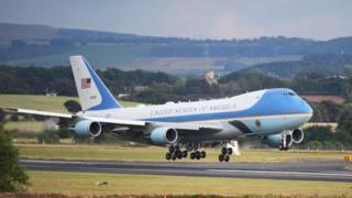 Mr Trump and his family touch down in Scotland