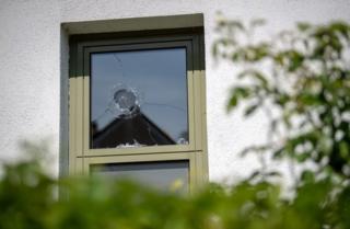 Broken window at Starnberg police station