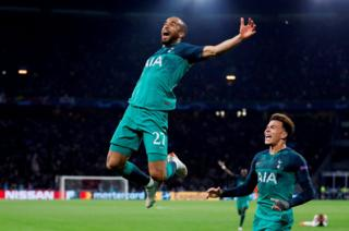 Tottenham's Lucas Moura celebrates scoring their third goal