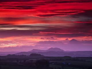 Sunset over the Eildon Hills