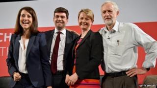 Liz Kendall, Andy Burnham, Yvette Cooper and Jeremy Corbyn