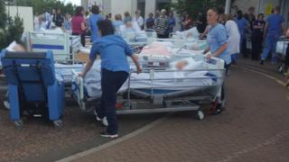 Patients on trollies outside Wishaw General Hospital