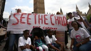 Protestors in Westminster in the week of Kids Company's closure