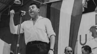 Pierre Poujade, Leader of the Trades Peoples Party, addressing some of his followers at a Congress in Angers in 1958
