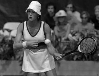 Renee Richards in the opening round of the 1977 US Open