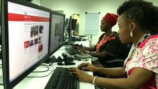 Members of the BBC Igbo and Yoruba teams in Lagos, Nigera