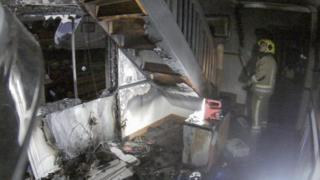 Fire damage caused by Christmas lights