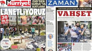 Composite of front pages from Turkish newspapers