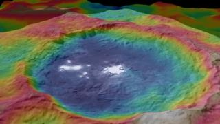 false-coloured illustration of crater and bright spots on Ceres