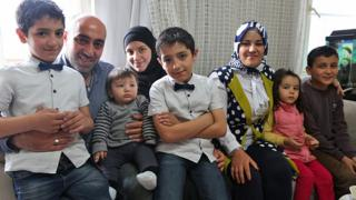 From left: Khalil and Yasmen Daba with their three children, and Ceylan Ince with her two children
