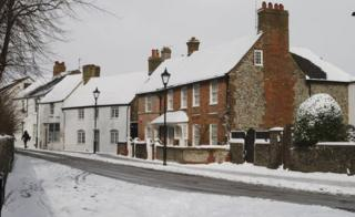 English houses in snow