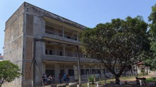 A general view of a building of Tuol Sleng genocide museum in Phnom Penh on October 15, 2014