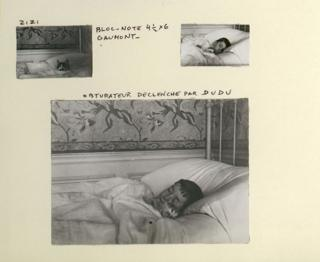 A family album page showing Lartigue sleeping in bed with a cat