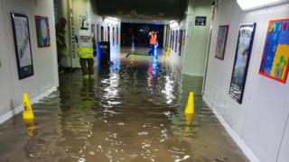 A flooded Didcot railway station