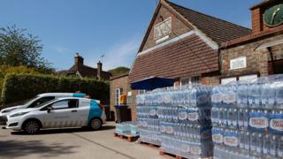 Bottled water at a village hall in West Sussex