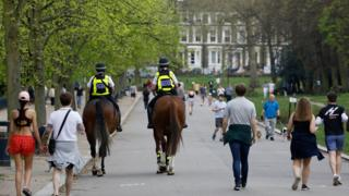 Mounted police in victoria park April 11