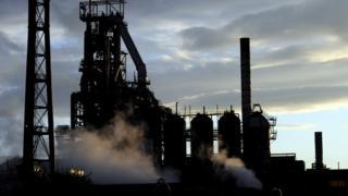 Tata Steel's Port Talbot plant at sunset