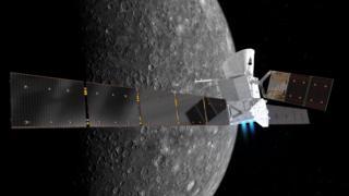 Ilustración de BepiColombo en la órbita de Mercurio