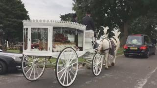 Horse drawn carriage carrying coffin