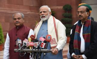 Prime Minister Narendra Modi addresses the media on the first day of the budget session in Parliament, on January 31, 2019 in New Delhi, India.