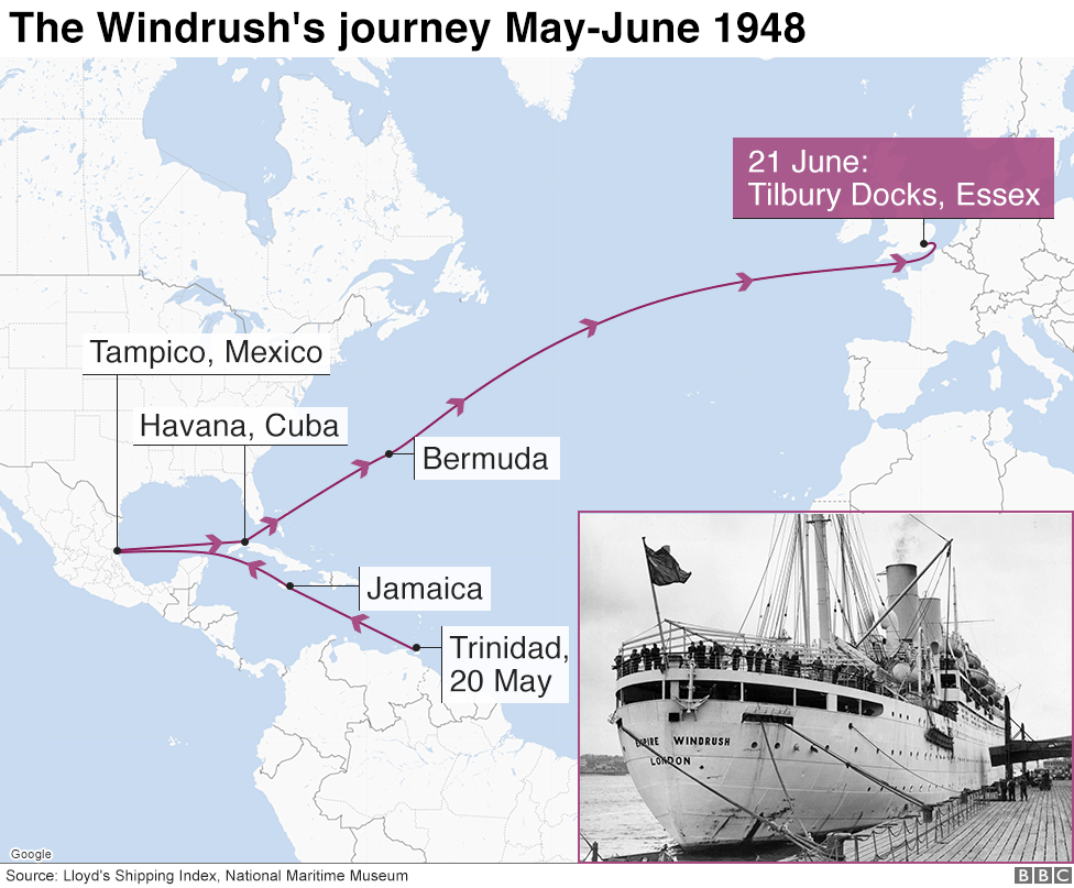 Map showing the Windrush's journey in June 1948