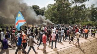 Manifestation devant le siège de la commission électorale à Beni, dans l'est de la RDC, le 27 décembre 2018