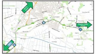 Possible Locations of A361 and A39 Bypass At Glastonbury