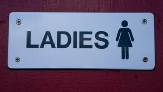 A ladies toilet sign