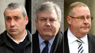 Three images Garry Vian, Jonathan Rees and Glen Vian, leaving the court of appeal
