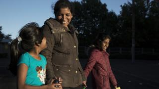 A Sri Lankan woman with her two daughters