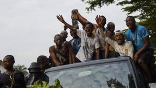 "Supporters of DR Congo""s opposition leader Felix Tshisekedi, the leader of the Union for Democracy and Social Progress (UDPS) party, celebrate after he was declared the winner"