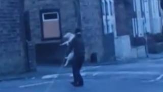 Still photograph taken from video footage of an alleged dog attack