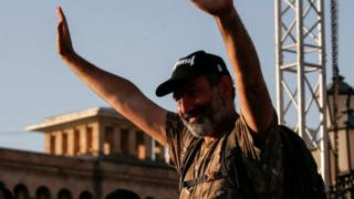 Armenian opposition leader Nikol Pashinyan waves to his supporters at a rally in Yerevan, Armenia May 2, 2018.