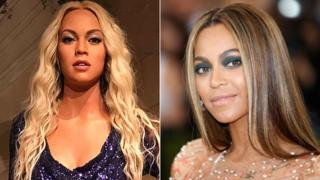 Beyonce and (left) waxwork