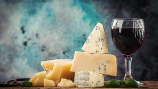 Cheese and glass of red wine