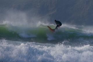 A surfer on a wave
