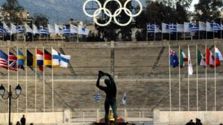 Greece Olympic image with rings and statue