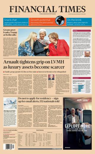 Financial Times front page - 26/04/17