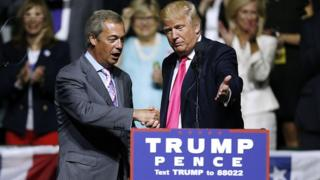 Donald Trump, right, invites United Kingdom Independence Party leader Nigel Farage to speak during a campaign rally