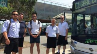 Bus drivers in France wearing skirts in protest